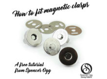 Here is an excellent FREE tutorial on how to attach magnetic bag clasps. Knowing how to fit magnetic bag clasps is super easy, once you know how. And learning this simple skill will really help you in the future as lots of projects require magnetic clasps.