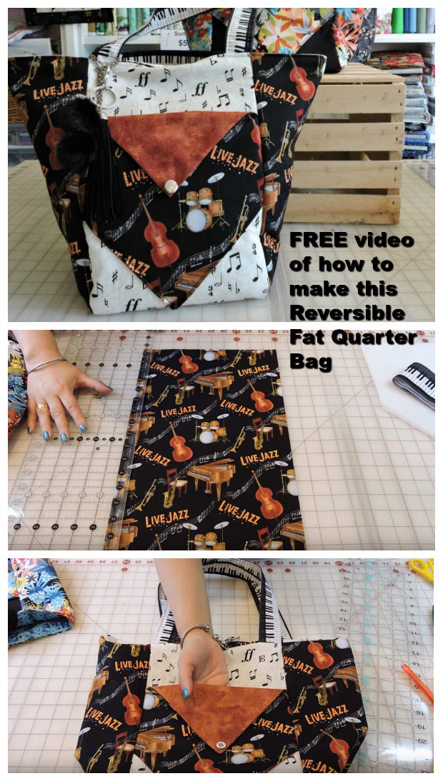 Here's a really excellent 35-minute FREE video showing you how to make this awesome Reversible Fat Quarter Bag. Go through your stash of fabric and pick some of your favorite fat quarter cuts or go shopping and purchase a new fat quarter fabric and make yourself this really functional bag.