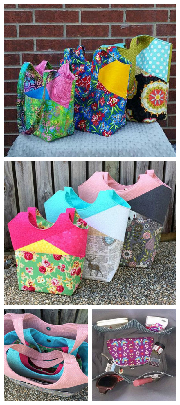 Here's the Stand Up & Tote Notice tote bag. This awesome pattern gives you the flexibility to make your tote bag in three sizes, large, medium or small, each of which is a nice and quick sew.