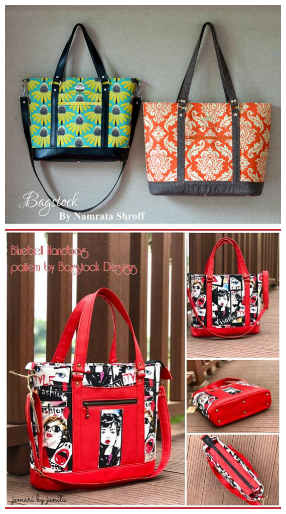 Bluebell is an all-purpose classic Tote (Handbag) that you can make using Bagstock Designs very informative PDF downloadable pattern and instructions. You can make Bluebell as a Tote Bag or a Handbag. The exterior of Bluebell has one slip pocket, one zippered pocket, and there are two pleated slip pockets and a zippered pocket in the lining. A zip top closure keeps the bag's contents secure.