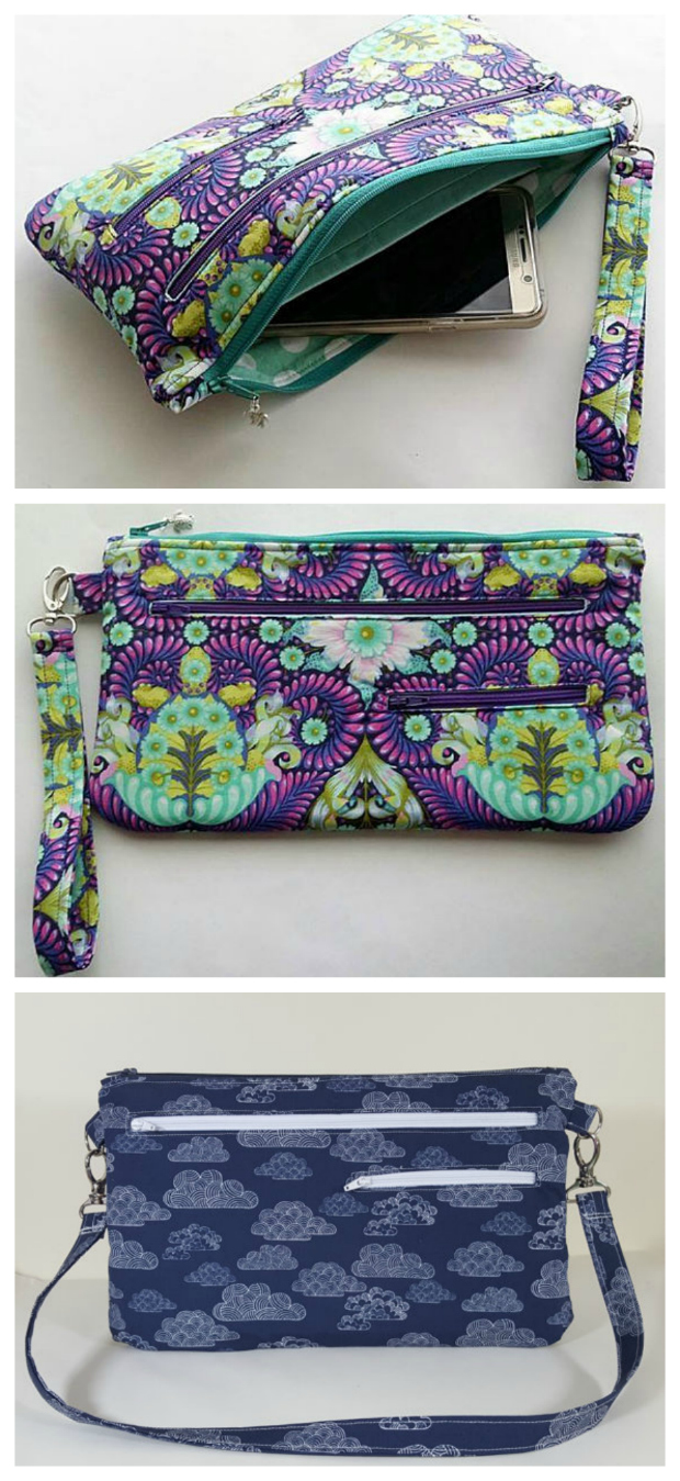The Dana Bag and wristlet is fantastic for a night out if you just want to carry the essentials. The pdf downloadable pattern has easy to follow step by step instructions and is a fairly quick sew for an advanced beginner to intermediate sewer. This pattern is a great project to use up a lot of your medium scraps. The pattern includes instructions for 3 zipped pockets, 2 strap options for the bag and a wristlet strap. The Dana Bag will fit a small Tablet. and the wristlet size will fit an Ereader.