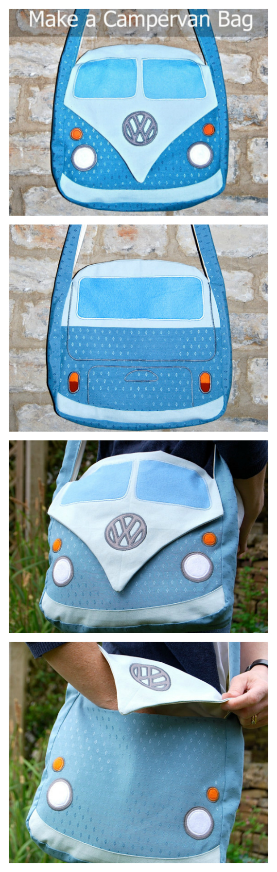 "If you want to make a really fun bag for yourself, family or friends then you can get this downloadable pdf pattern here. This sewing pattern allows you to make this very unique bag based on the Splitscreen Campervan. This bag will have you standing out from the crowd and will get you many admirers. The finished bag measures approximately 12"" by 12"" with a strap long enough to cross over your body. The bag also has a handy pocket inside to help you keep all your essentials organised."