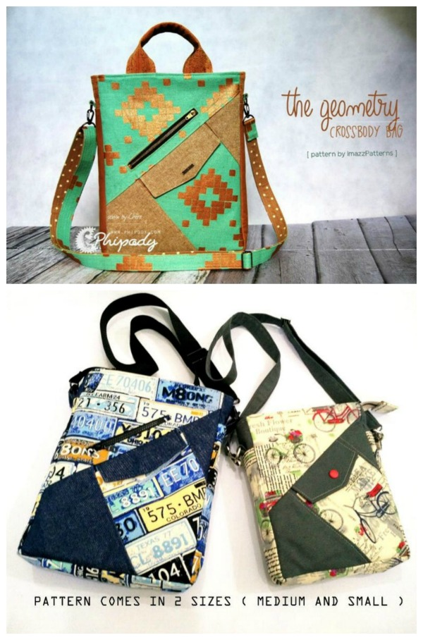 Sewing pattern for the Geometry Crossbody Sling School Bag