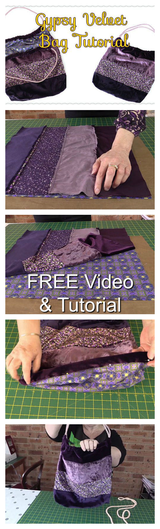 Velvet Gypsy Tote Bag FREE sewing video and tutorial