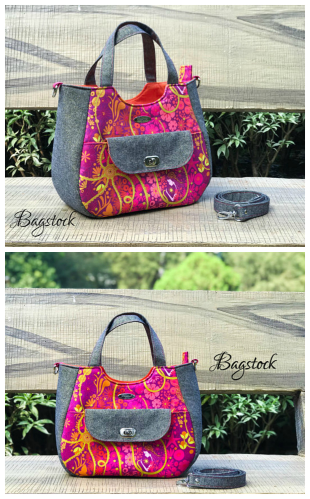 """The Ruby Handbag pdf sewing pattern will make you an awesome all-purpose handbag. The Ruby has a total of 4 pockets, an exterior slip pocket on the bag flap, two slip pockets in the lining and a zippered pocket also in the lining. To keep the bag's contents secure the Ruby has a zip top closure. The Ruby can be completed by an advanced beginner sewer and the final measurements are 12"""" wide by 10"""" high by 5.5"""" deep."""