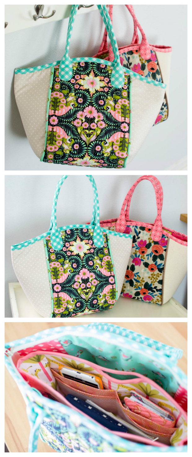 Sew Modern Bags brings you another awesome FREE pdf pattern that is specifically aimed at beginner sewers. The Fabric Basket Tote bag is beautiful, easy, and fun to sew! The Fabric Basket Tote's main features are as follows: There are two interior pockets. It has a zipper which is different from most Tote Bags, or you can use a magnetic snap. The handles aren't super long like shoulder straps but it can fit on your shoulder. The bag has a bound top edge that matches the handles (if you want) and it is a nice roomy size. The center panel is quilted and there is piping that separates the middle from the sides.