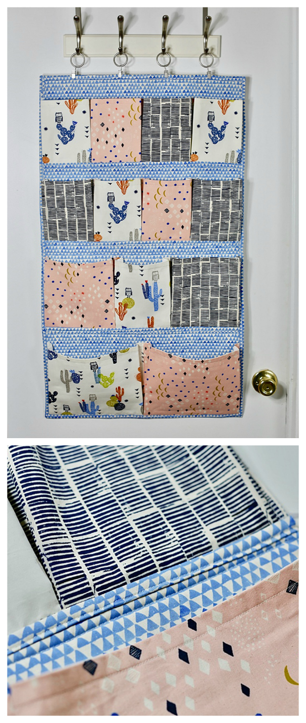 """So we have here today a FREE tutorial and pattern on how to make a super fun wall pocket. Making this Hanging Pocket Organizer means you will be able to use it to re-organize all those little bits and pieces that you have laying around the house. The finished size of the organizer is approximately 21"""" wide by 36"""" tall."""