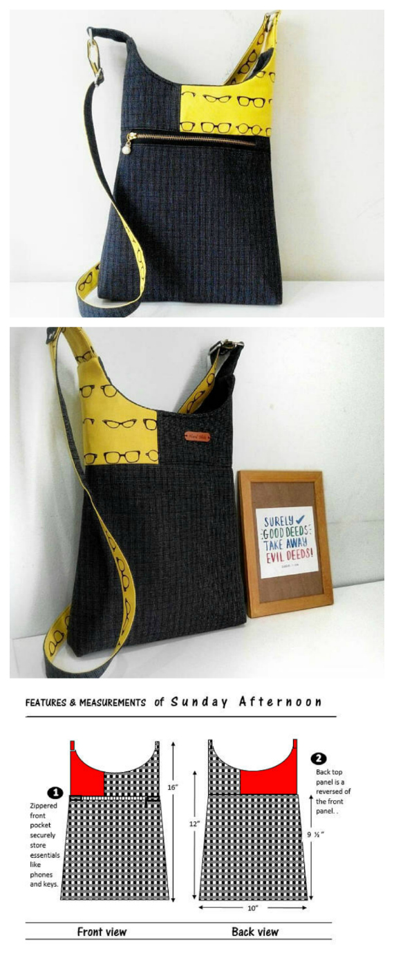 If you want to make a simple and quick-to-make bag then why not download this pattern and make this very casual hipster / cross-body / shoulder bag. There are 2 sizes included in the pdf downloadable pattern with the bigger one being 1 ½ inches taller than the smaller one. The bag is very much aimed at the casual you. It's relatively lightweight and is ideal for shopping, cycling or strolling in town. However, it does have lots of ample room for your phones, clutch, keys and even a small book or tablet.