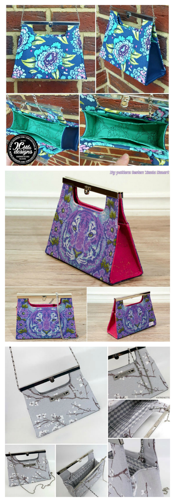 """This is one of those elegant and original purses that will have everyone asking you where you bought it. It is particularly designed for that special day like, for example, a wedding. It has 3 interior slip pockets and is fully lined. The Paris Purse is a small purse measuring 9"""" wide by 7"""" and with an excellent and extremely helpful pattern to follow is perfect for a very confident beginner to intermediate bag maker."""