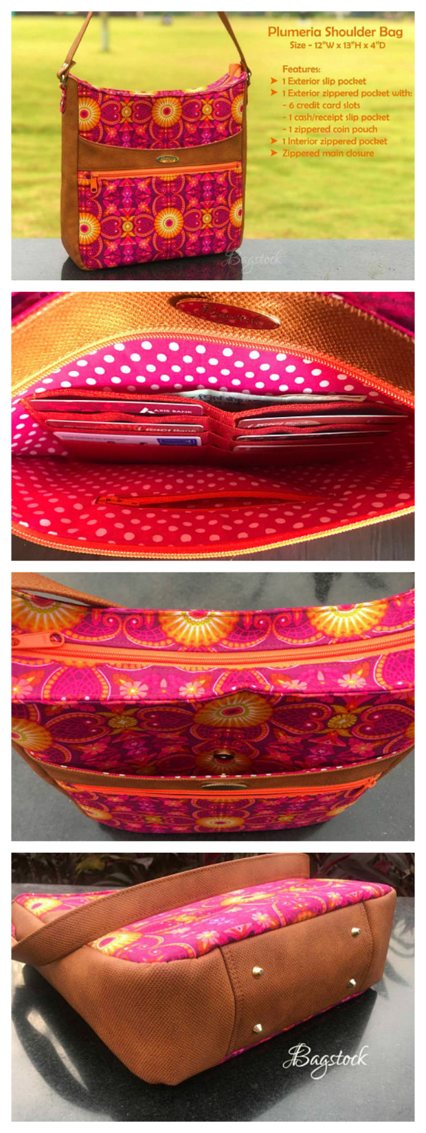 Plumeria is an all-purpose shoulder bag. It's a great bag with the following features: Six card slots One cash/receipt slip pocket One small zipper coin pouch in the exterior zipper pocket One big slip pocket on the exterior One zippered pocket inside A zip top closure to keep the bag's contents secure.