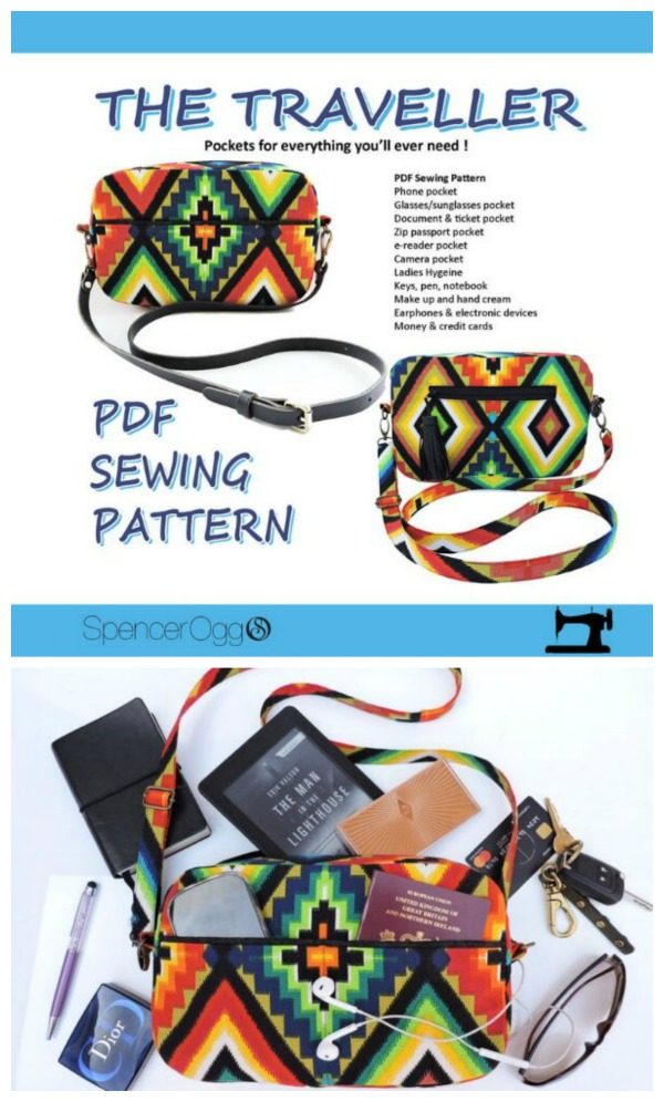 The Traveller Crossbody multi-pocket purse pattern