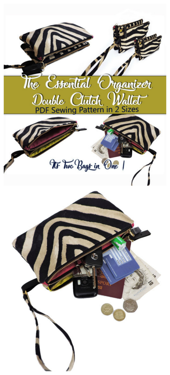 Here's a PDF Sewing pattern for a unique bag - The Essential Organizer Double Clutch Wallet. This pattern shows you how to easily make an ingenious double clutch organizer that gives you two bags in one! And as a bonus the pattern comes in two sizes so you can choose between a clutch bag or wallet size organizer - or why not make both. You can organize all your essentials as the clutch has two individual sides so you can use one side for makeup, spectacles, pens, and the other side for money, keys and per