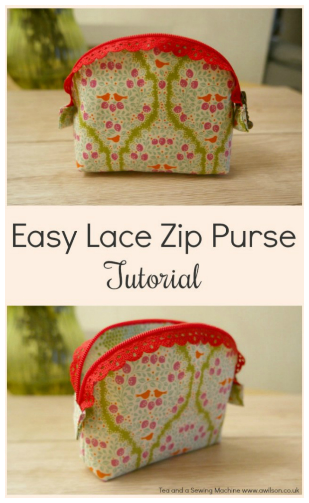 Easy Lace Zipper Purse FREE sewing pattern & tutorial