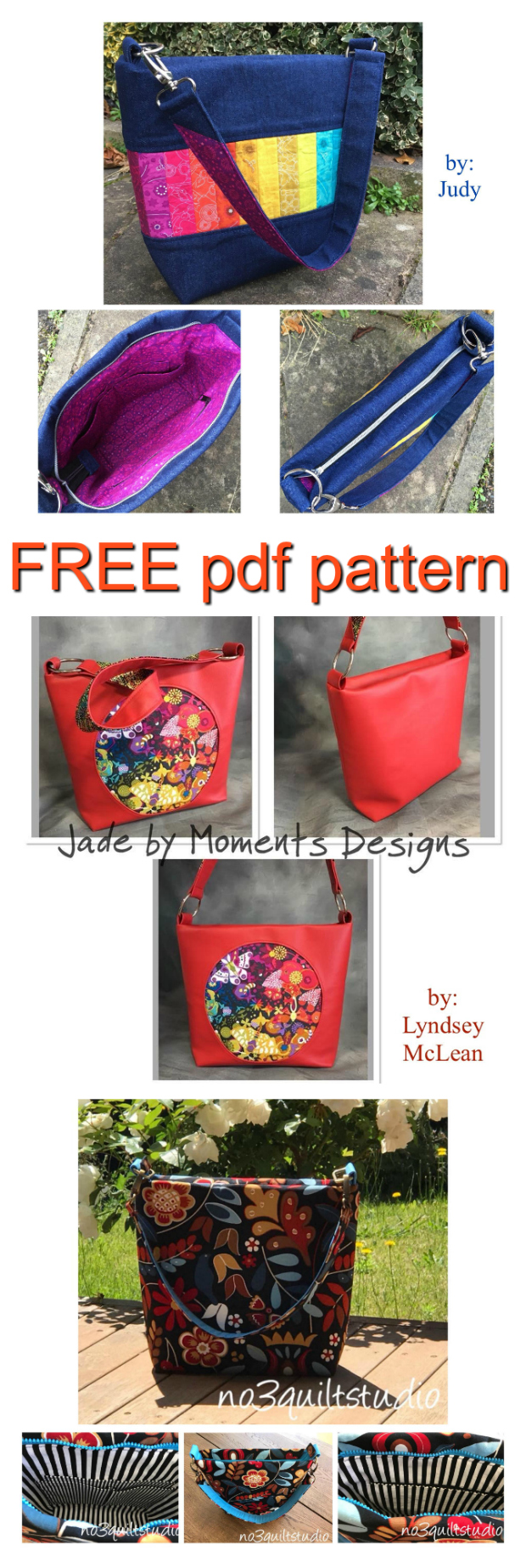 "Here is a FREE pdf pattern to make a medium-sized purse called ""Jade"". This fast, easy pattern can be made with cotton, denim, decorator fabrics, cork or faux leather. Jade can be completed by a confident beginner to intermediate sewer and she will measure approximately 12"" wide by 10 1⁄2"" high by 4 1⁄2"" deep."