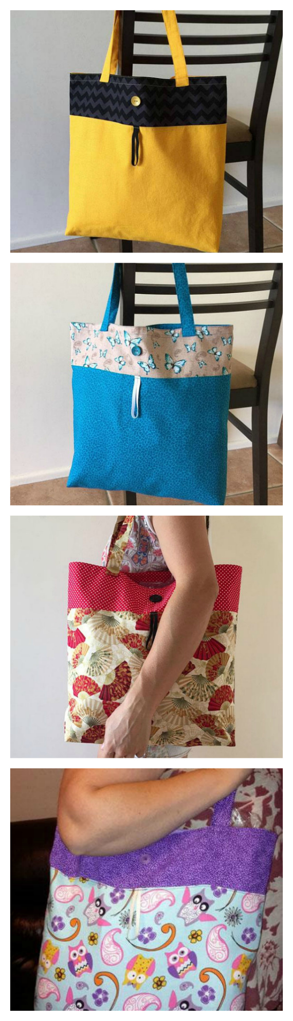 If you want a Reusable Grocery Bag that stands out from the crowd, then this the pdf pattern that you need to get. The Reusable Grocery Bag is an easy to follow sewing pattern to create your own reusable grocery bag or market tote. These bags have a multitude of uses and roll up small enough to tuck away discreetly in the bottom of your handbag until needed. It's the perfect reusable shopping bag pattern. The finished bag is large in size and the pattern comes with two options to make either a fully lined bag or an unlined bag.