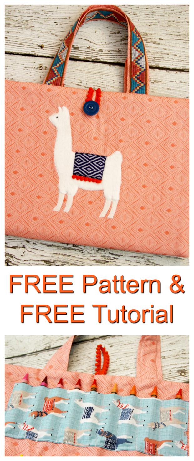 Fluffy Llama Coloring Caddy FREE sewing pattern & tutorial