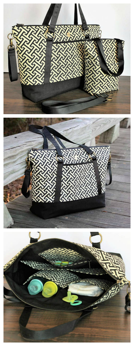 With this pdf pattern, the intermediate sewer gets two patterns for the price of one. You get to make both a diaper bag and an insulated bottle/snack bag.
