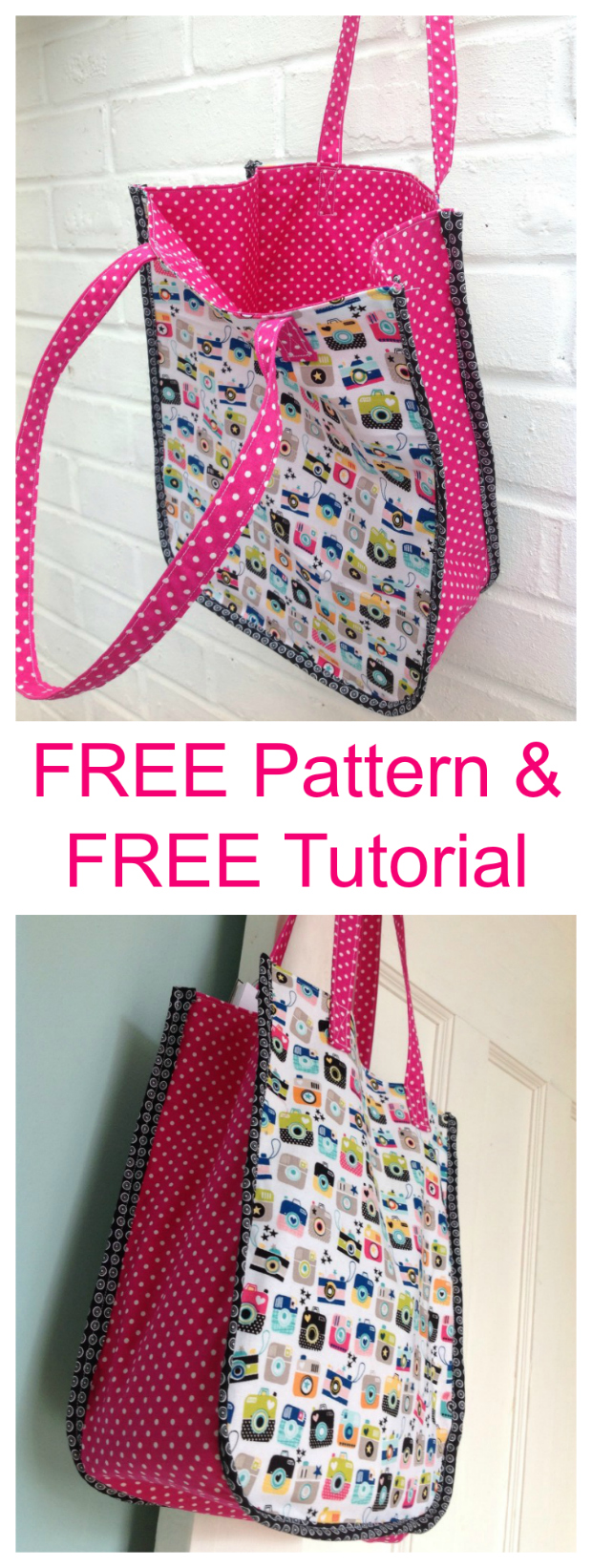 Instamatic Tote Bag FREE sewing pattern & tutorial