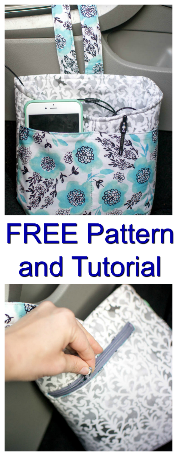 With this FREE pattern and tutorial, you can make this handy Car Diddy Bag for organizing your stuff in your car. The Car Diddy Bag keeps everything you need nice and handy and organized. It's specifically designed to hold your phone in one of the outside open pockets, maybe your phone cord, some pens etc. At the back of the bag, there is a welt zipper pocket where you can stash some cash or an emergency credit card in case you forget your purse.