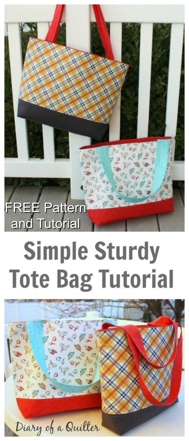 Simple sturdy tote bag - FREE pattern & tutorial