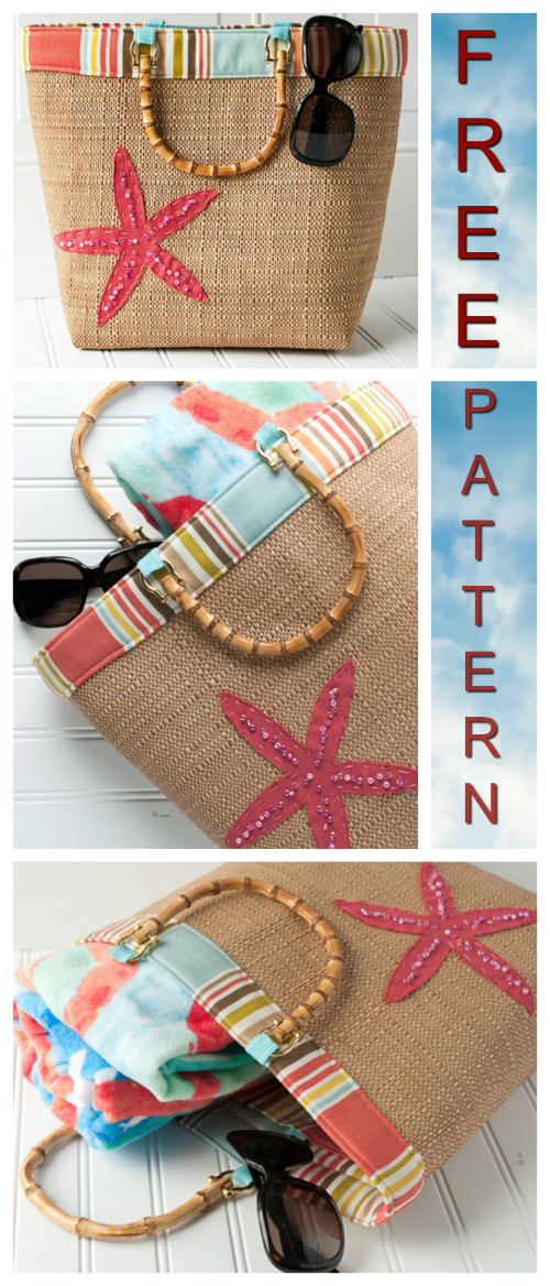 Beach Bound Straw Tote Bag FREE sewing pattern & tutorial