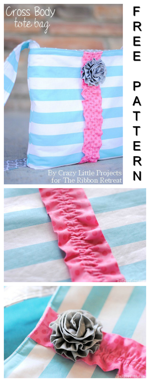 Cross Body Tote Bag FREE sewing pattern & tutorial