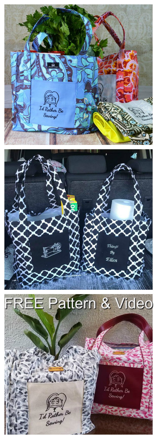 Here is a FREE pattern that comes with a FREE video showing you how to make this Grocery Tote bag. It's a simple project for a beginner sewer.