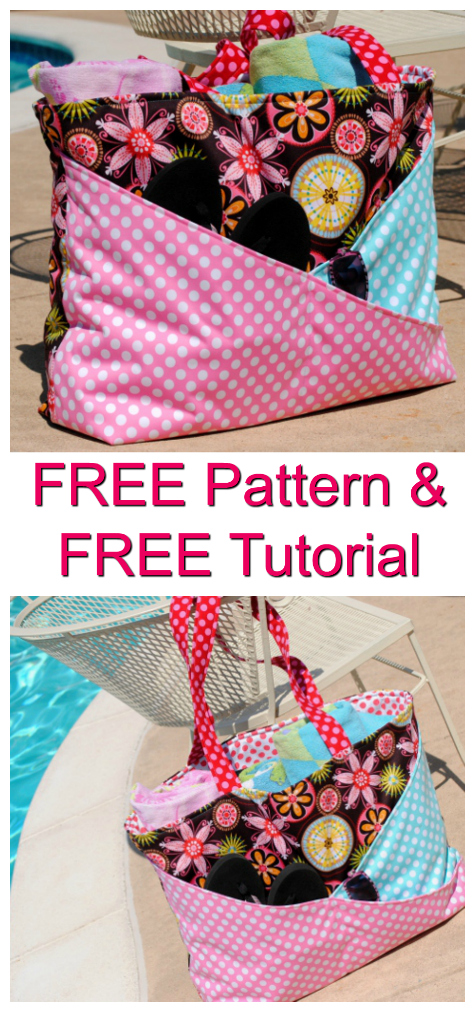 Sunny Days Waterproof Beach Bag FREE sewing pattern & tutorial