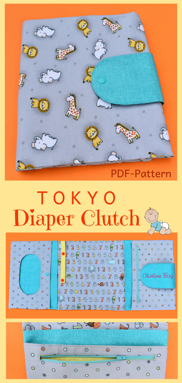 "Create your own useful and unique diaper clutch with this easy-to-follow and step-by-step ""TOKYO Diaper Clutch"" sewing pattern. The ""TOKYO Diaper Clutch"" stores all necessary baby items and is (when unfolded) even long enough to use it as a changing mat for your little one. It can be a beautiful gift for a baby shower or a ""newborn mom"", too."