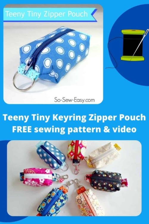 Teeny Tiny Keyring Zipper Pouch FREE sewing pattern and video