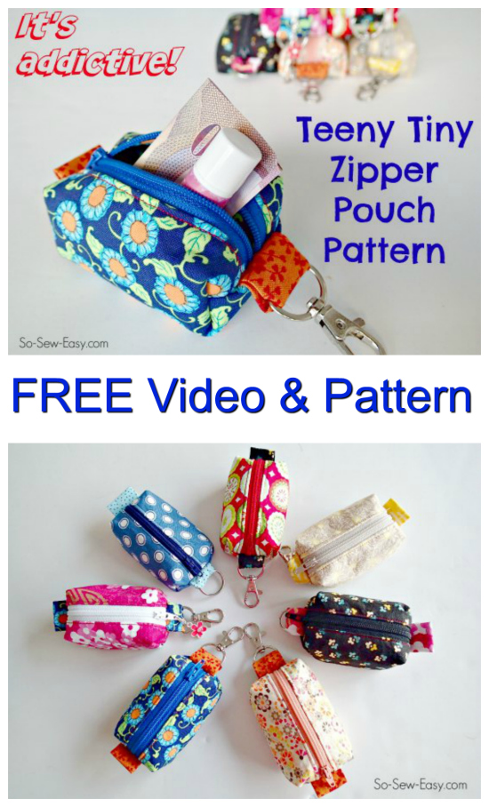 Teeny Tiny Keyring Zipper Pouch FREE sewing pattern & video