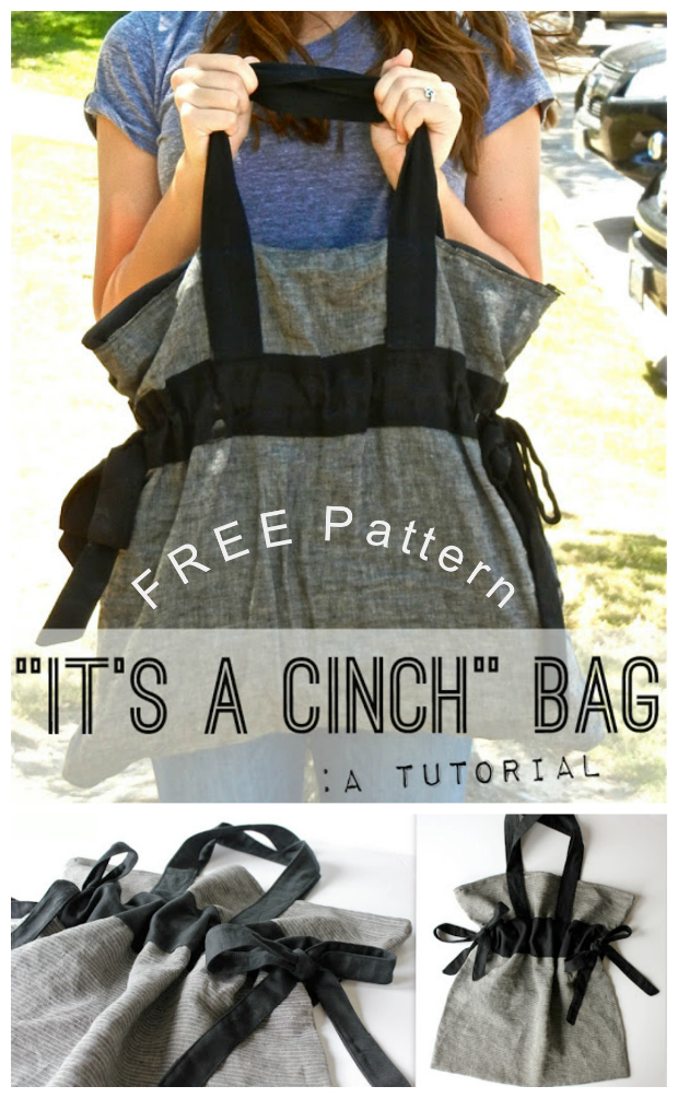 It's A Cinch Bag FREE sewing pattern & tutorial