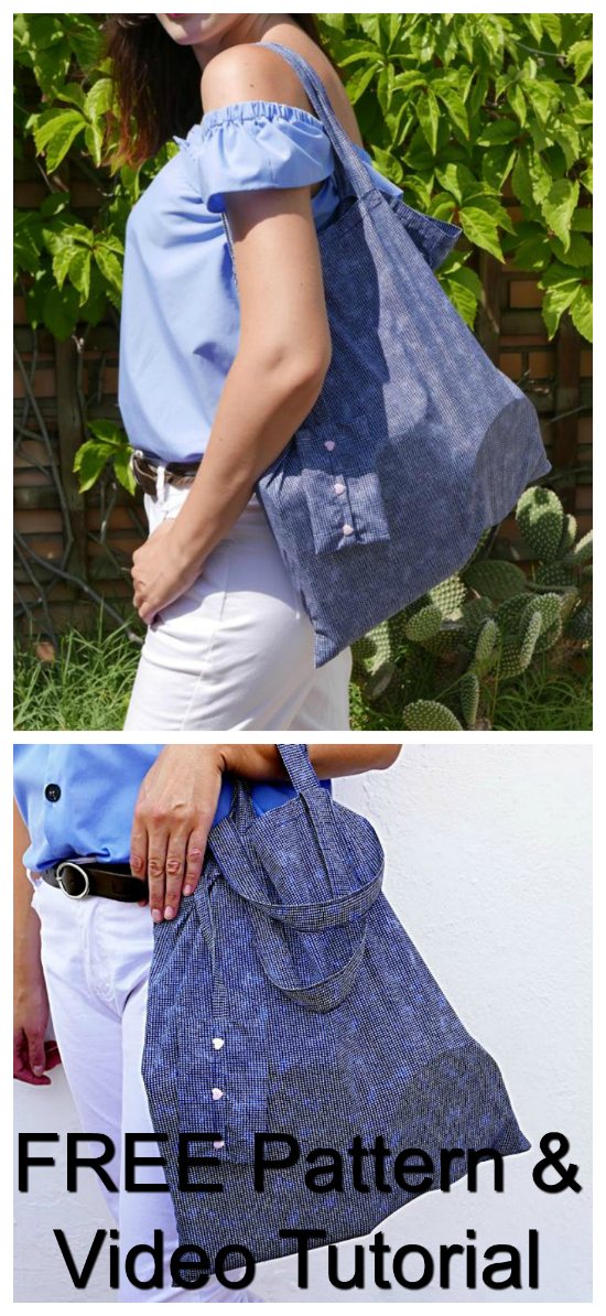 Foldable Shopping Bag FREE sewing pattern & video tutorial.
