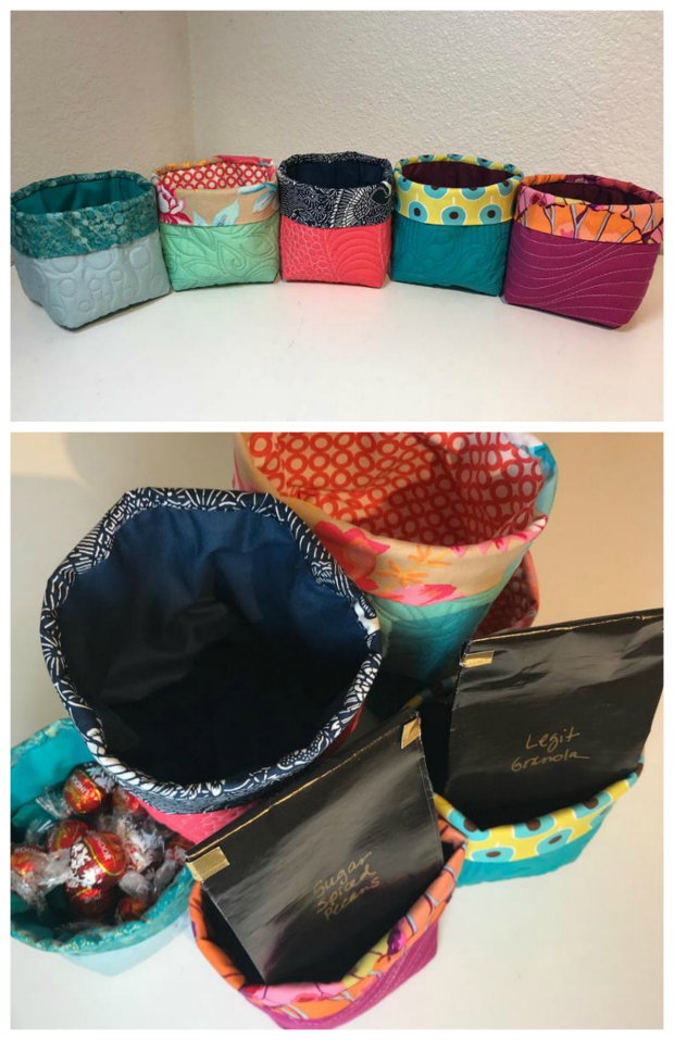 Here is a FREE pattern for Little Quilted Buckets, as well as a FREE video tutorial. The Little Quilted Buckets are an easy way to wrap a gift or give as a useful handmade container. You can store all kinds of items in each of the buckets. If you start with a quilted fat quarter you'll have enough to make three identical buckets!