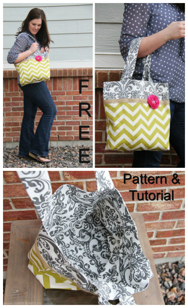 A lady can never have too many Tote Bags. Here's a Two-Tone Tote Bag with a FREE pattern and tutorial, where you can make the bag in 2 different styles. The inside is fully lined and the bottom is squared off to help it stand up, which also gives the bag more room.