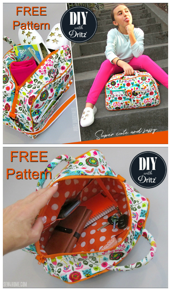 This Compact Quilted Duffle Bag was made as a smaller size bag that would work for kids or anyone who wants a space-saving and on-the-go option. You can access the FREE Pattern & Tutorial below to make this surprisingly straightforward bag.