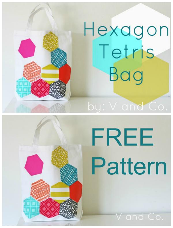 Hexagon Tetris Tote Bag FREE sewing pattern & tutorial