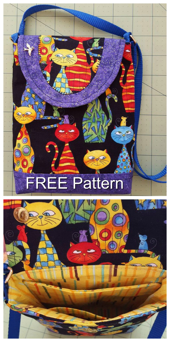 """It's FREE pattern time again from Sew Modern Bags. This cute little sturdy bag measuresjust 5½"""" wide by 7½"""" high approximately, and is just perfect for your phone, a credit card, your driver's license and some cash. Instead of carrying a great big bag you'll love this lightweight alternative. It's perfect for a quick trip to the store or a jog around the park. The pattern is fat quarter friendly and scrap happy, and although it's marked as an intermediate skill level pattern, the On-The-Go Crossbody bag is also perfect for the confidentbeginner."""