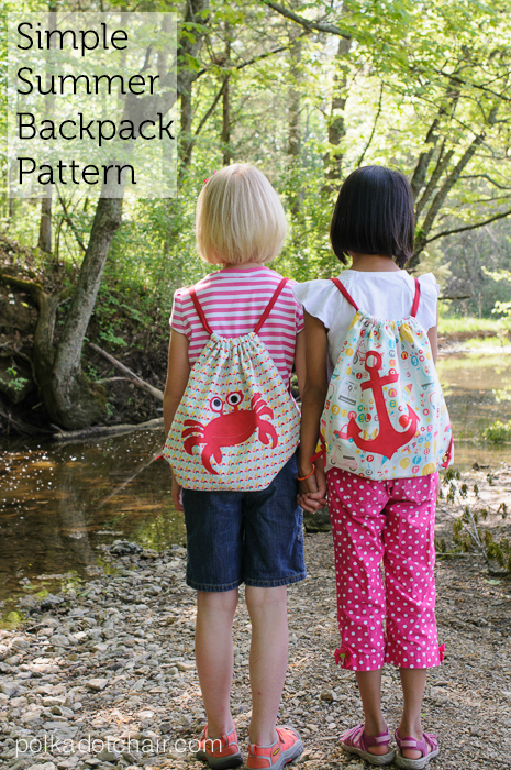 Simple Drawstring Backpack FREE sewing tutorial & pattern