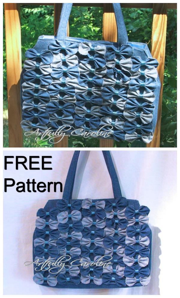 Denim Farfalle Handbag FREE sewing pattern & tutorial