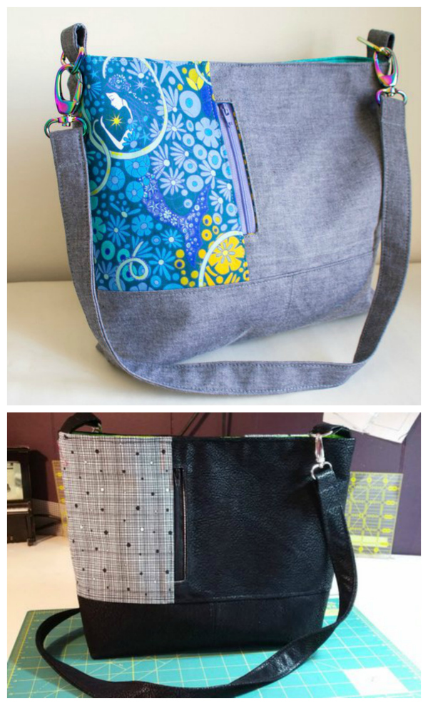 The Lianna Bag is a great advanced beginner / intermediate sewing pattern that has two exterior zipper pockets, a snap closure and a detachable strap.  You can make the Lianna Bag in one colour or have beautiful panels and this bag is a great bag to use up your medium scraps.
