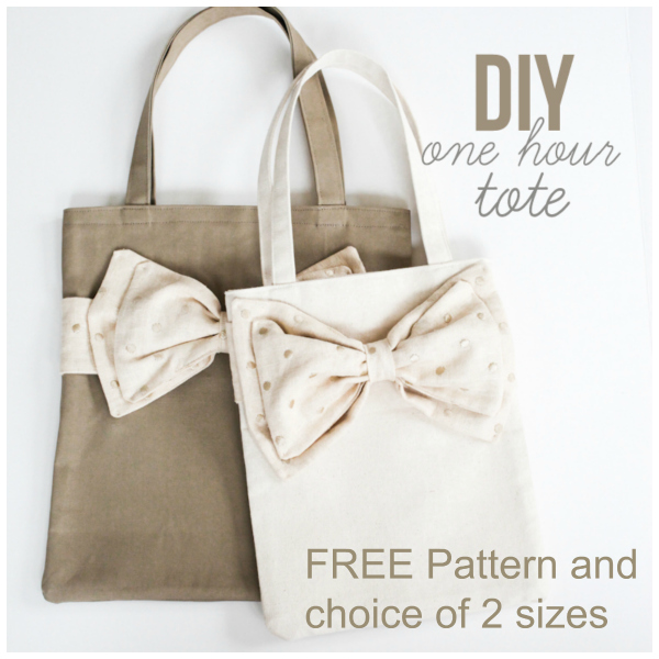 One Hour Bow Tote Bag FREE sewing pattern
