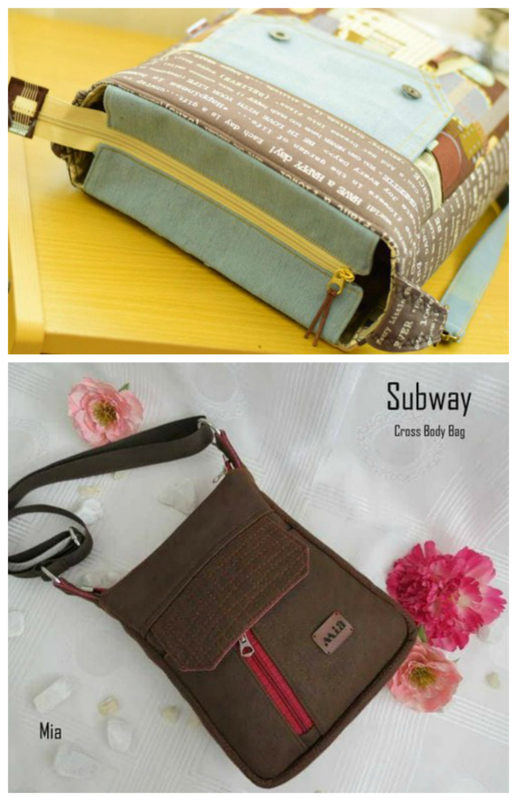 The Subway Cross Body Bag is a practical and multi-purpose cross body/shoulder bag. There are 2 pattern sizes included for this cute and unique bag. The bigger one is suitable for carrying books, documents, small laptop, etc. The other size is a reduced version of 80%, which is perfect as a cross-body bag.