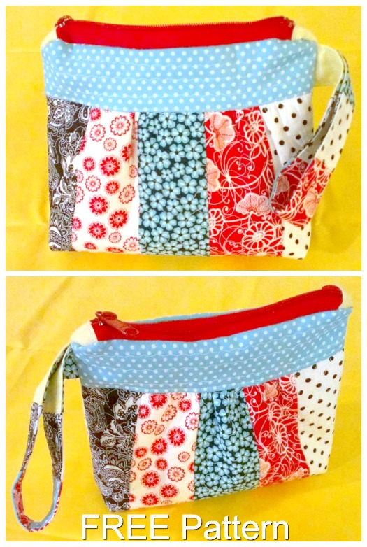 Here's a really cute clutch bag called the Bella Clutch Bag. You can make Bella using the FREE pattern provided by the designer. The Bella clutch has a really nice removable handle as well as a top zipper.