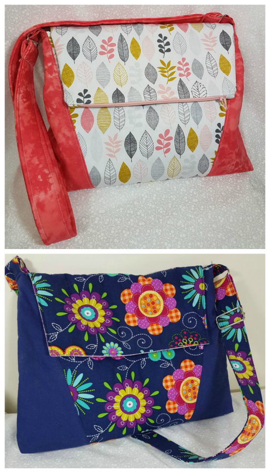 "The Luna Bag is a great sewing pattern for a beginner to intermediate sewer. And when you buy this pattern you get two patterns included as Luna can be made as an awesome everyday bag and as a laptop bag. Both bags have an adjustable strap, while the laptop bag fits a 13"" laptop."