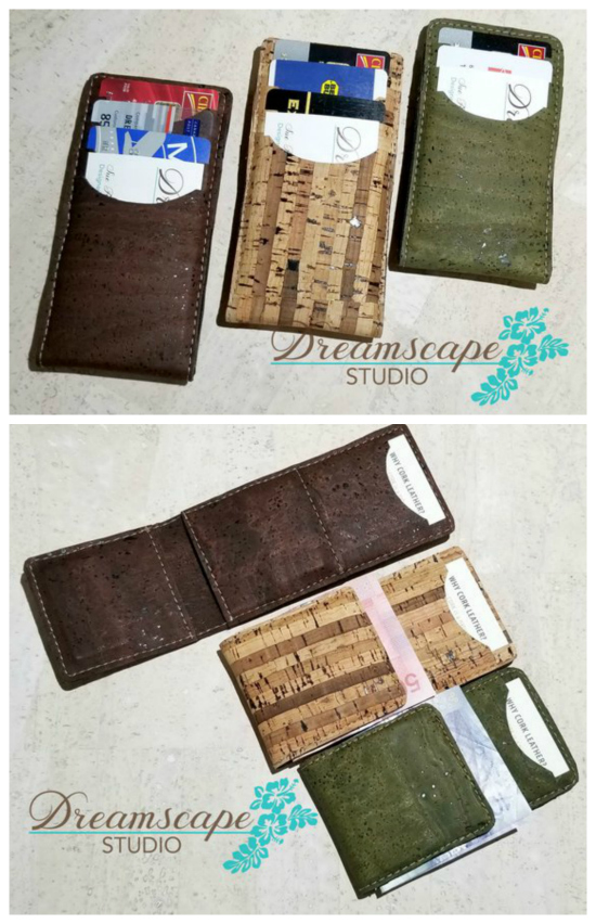 Here's a great downloadable wallet pattern for a Money Clip Flip Wallet. This pattern includes pieces for two different sizes and two different textiles, Cork or Leather. It can be made with either a 3 credit card slot option or a 4 credit card slot option. Both wallets have an ID pocket and Money Clip on the flip side.