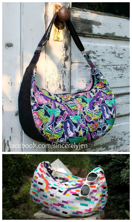 Sheena is an 80's inspired large hobo bag. Two curved-zipper pockets accent the slouchy body of the bag, but the pattern also includes an option for straight zippers. There are two slip pockets inside and an adjustable strap with two fixed lengths; shoulder and cross-body.