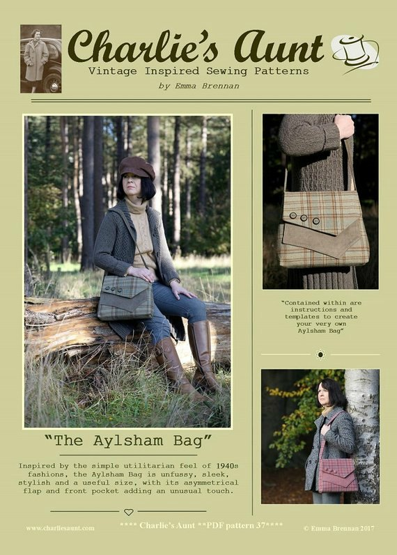 Here's a sewing pattern from a great designer for The Aylsham Bag, which is inspired by the simple utilitarian feel of 1940s fashions. It is unfussy, sleek and stylish with its asymmetrical flap and front pocket.