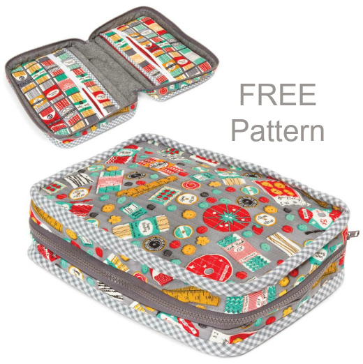 If you have ever wanted to make yourself a sewing case for holding your sewing, quilting and crafting supplies then we have a great FREE pattern for you here. This Carry Along Sewing Case is designed to carry lots of your essential items. It has a large zipper which allows you access to the main part of the case and it alsocomes with one internal and one external zippered pocket.