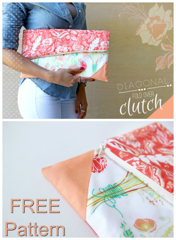 Here at Sew Modern Bags we really like this Clutch Bag and what is amazing is the designer of this Diagonal Fold-Over Clutch Bag has given you the pattern and tutorial completely FREE.